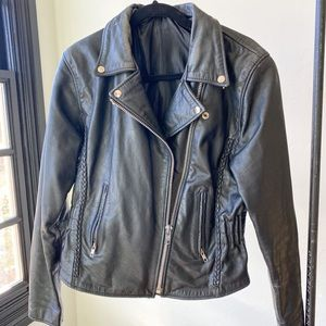 VINTAGE thick moto style leather women's jacket